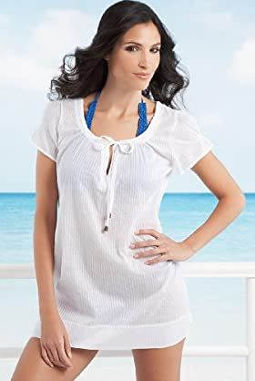 Pure Cotton Short Sleeve Tie Fastening Kaftan - Marks & Spencer :  beach kaftan designer marks spencer