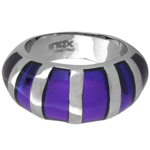 Size 7 - Inox Jewelry Purple Resin 316L Stainless Steel Ring