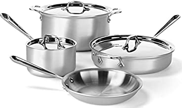 All-Clad 700393 MC2 Professional Master Chef 2 Stainless Steel Tri-Ply Bonded Cookware Set, 7-Piece, Silver