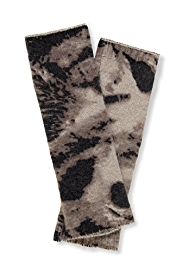 M&S Collection Pure Cashmere Tiger Print Long Fingerless Gloves
