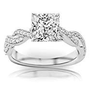 1 Carat Princess Cut Twisting Designe…