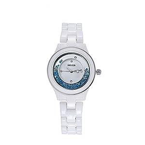 Kezzi Women's Quartz Dress Colour Diamond Ceramic Watch K842 White