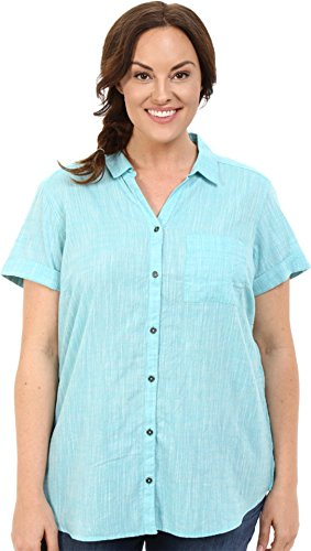 Columbia Women's Plus-Size Wild Haven Short Sleeve Shirt, Miami Cross Dye, 1X
