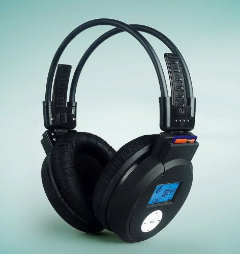 Plan-B High-End Surround Sound Wireless Folding Headphones With Built In SD Memory-Card Reader MP3 Player, LCD Screen &#8211; For Sports And Outdoor Activities