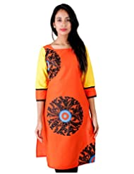 ESTYLe Orange Shade Kurta With Block Prints