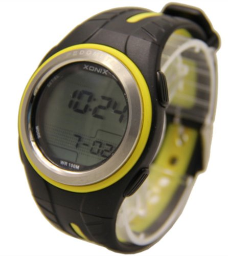 100m Water Resistant Waterproof Multifunction Pedometer Calorie Counter Watch Running Tracker GRP-005(Black Yellow)