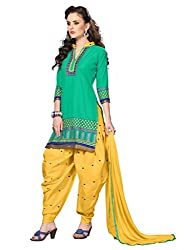 Green Cotton Embroidered Patiala Suit