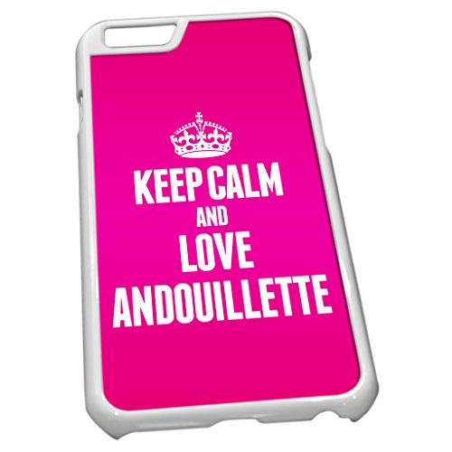Blanc Coque pour iPhone 6tissu rose Keep Calm and Love Andouillette