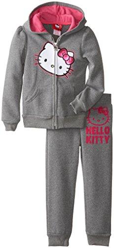 Hello Kitty Little Girls' Sequin Applique Fleece Set, Medium Heather Grey, 6 front-892666