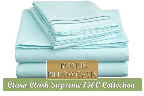 "Clara Clark ® Supreme 1500 Collection 5 Piece Bed Sheet Set, Includes Extra Pillowcases, Twin (Single) Size, Light Blue Aqua (75""X39"" Fits Xl)"