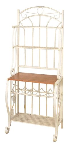 Old Dutch Linen White Baker's Rack  Wine Rack,