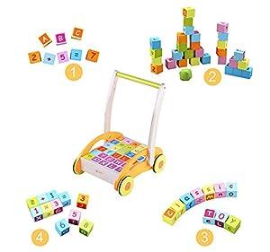 Andador Correpasillos 32x27x40cm + 30 Cubos de Madera para Bebe Normativa EN 71 en BebeHogar.com
