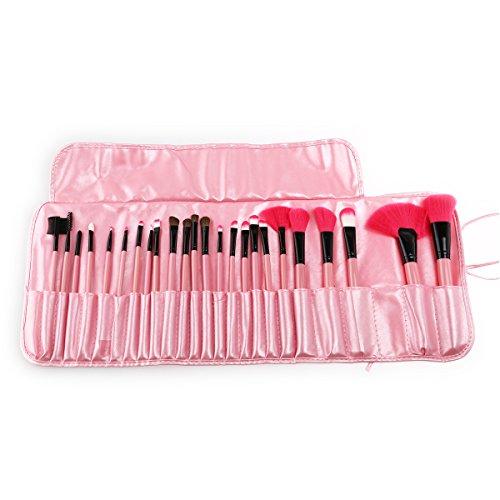 Tinksky 24pcs pinceaux de maquillage cosmétique professionnel en un rose PU sac 2pcs cheveux magique Bangs pâtes autocollants définies (roses)