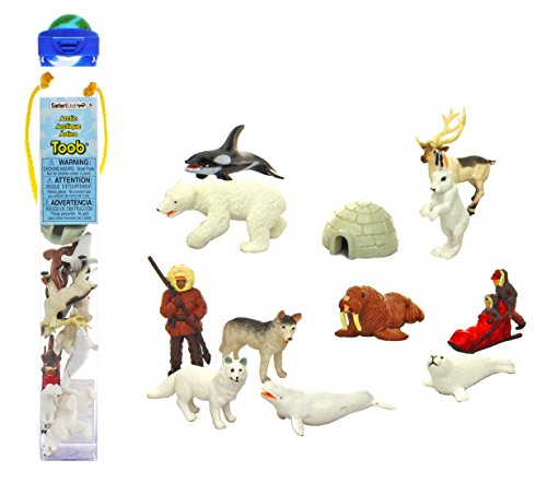 Safari Ltd Arctic TOOB With 12 Fun Figurines, Including a Harp Seal, Husky, Eskimo Hunter, Caribou, Arctic Rabbit, Killer Whale, Walrus, Arctic Fox, Beluga Whale, Igloo, Musher with Baby, and Polar Bear.