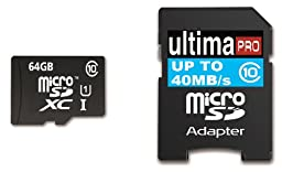 Memzi 64GB Class 10 40MB/s Ultima Pro Micro SDXC Memory Card with SD Adapter for Samsung Galaxy Grand Cell Phones