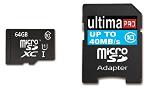 Memzi 64GB Class 10 40MB/s Ultima Pro Micro SDXC Memory Card with SD Adapter for Asus Transformer Tablet PC's
