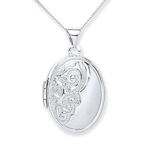 Chic 9ct White Gold Half Embossed Locket with 46cm Chain