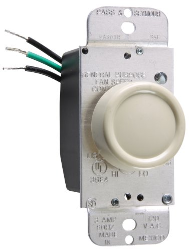Pass & Seymour 94301Iv Rotary Fan Speed Control 3-Amp Max, Full Range Control Fits Standard Toggle Plates, Ivory