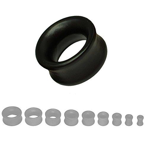 Legno Dilatatore Plug 8-22mm Plug-metropolitana Wood doppio svasata beige marrone nero, Dimensioni: 10 mm, Colore: nero.