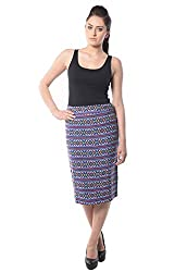 iamme Geometric Pattern Blue Pencil Skirt
