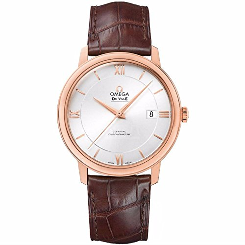 Omega Deville Co-Axial Automatic Silver Dial Rose Gold Brown Leather Mens Watch 42453402002001 (Omega Gold Deville compare prices)