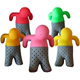 ParTea Time Tea Infuser - 5 Silicone Tea Strainers. Tea filter for Loose Leaf Tea by J&Z (Red, Pink, Orange, Yellow and Green). Mr. and Mrs. Tea are having a Tea Party!