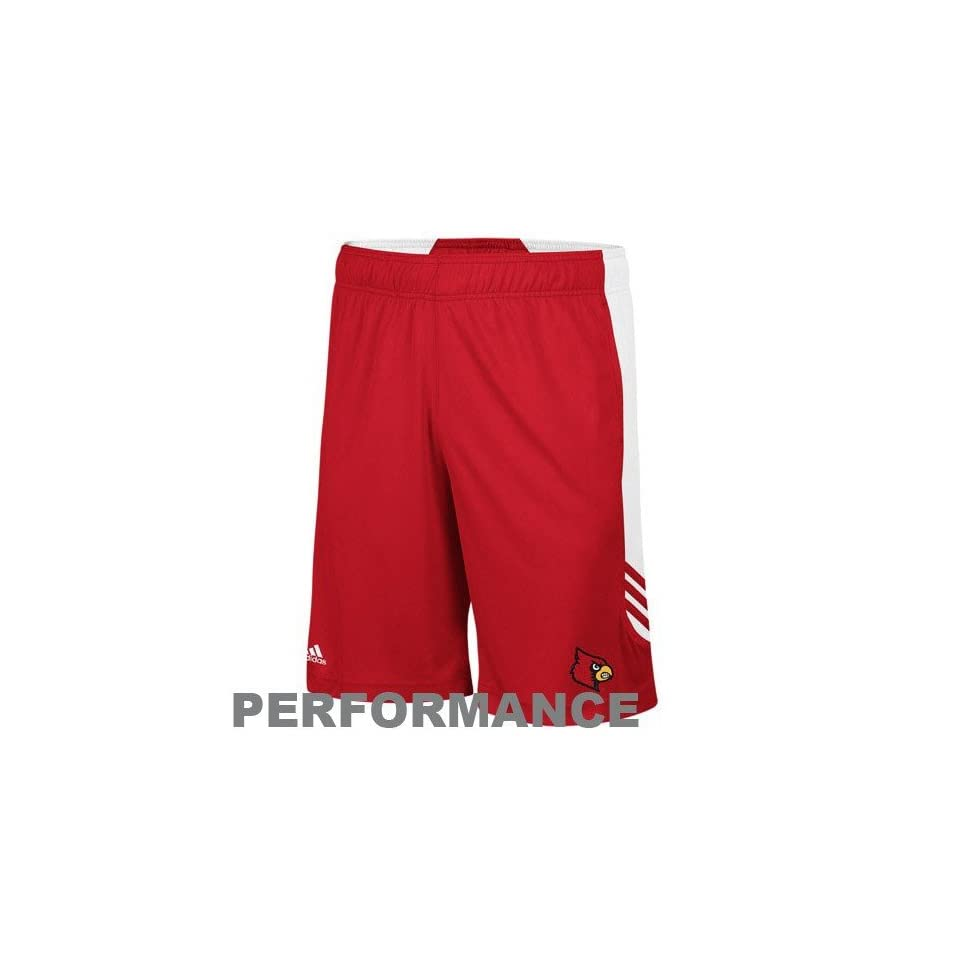 adidas Louisville Cardinals Red White Scorch Performance Training Shorts (X Large)