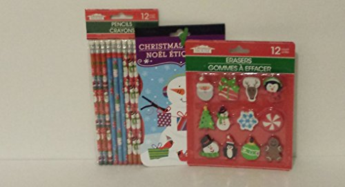 Christmas Classroom Bundle: Christmas Themed Pack of 12 Pencils, 12 Erasers, and 1 Book of 80 Christmas Stickers - 1
