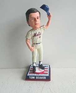 Tom Seaver New York Mets Cooperstown Collection HOF Logo Base Bobble Head by My Sports Shop