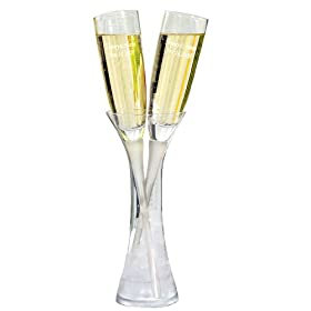 Toasting Flutes in Vase Set