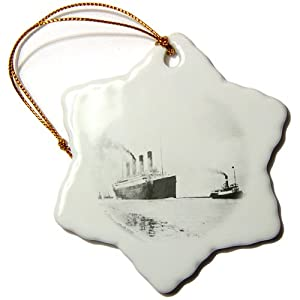 3dRose orn_62395_1 Old Photograph of Titanic's Trial Run Snowflake Decorative Hanging Ornament, Porcelain, 3-Inch
