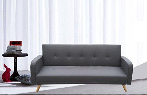 Canapé lit microfibre gris 3places inclinable pieds bois