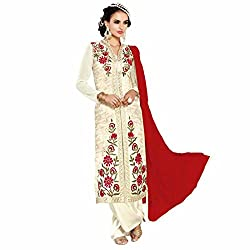 Look N Buy Women's Latest Off-White Coloured Embroidered Semi-Stitched Georgette Salwar Suit With Dupatta