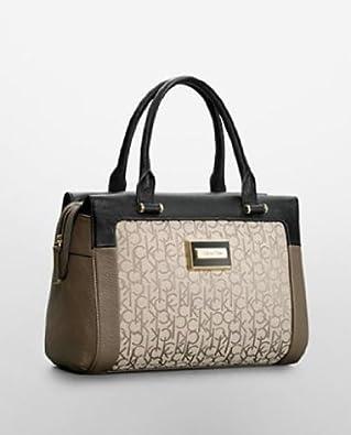 Calvin Klein Womens Carey Logo Structured Bowler Satchel Handbag Cocoa
