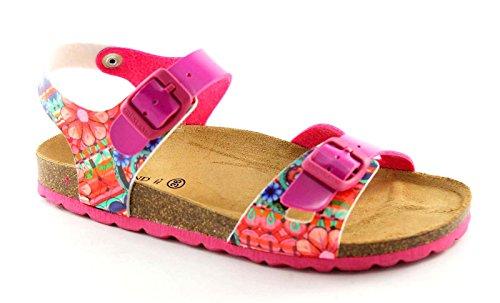 GRUNLAND LUCE SB0428 36/39 fuxia sandalo bambina fibbie fantasia fiori 37
