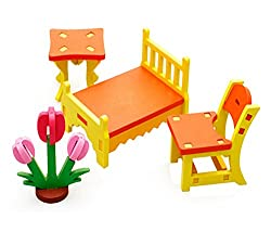 Cute Kids Colorful Play House Toys Wooden Assembling Furniture Set Toys