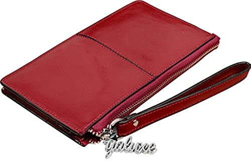01. Yahoho Women's Genuine Leather Clutch Wallet with Wrist Strap