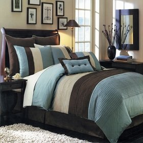 Sheetsnthings 12 Pc Full Size Blue Hudson Bed In A Bag Including: Comforter Set And A Sheet Set. front-1003351
