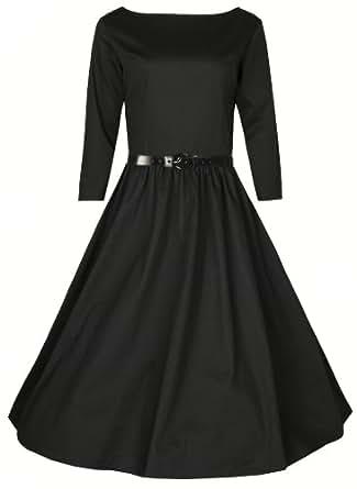 Lindy Bop 'Holly'Vintage 1950 Balançoire Rockabilly Audrey Hepburn Style 3/4 Robe à Manches (36, Noir)