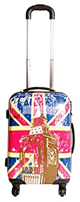 2408 Union Jack Multicolour Set of 3 Suitcases - Super Lightweight 4 wheels - Funky Luggage Set - Hard Plastic - London Big Ben UK Flag
