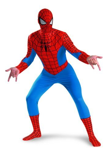 Disguise Men's Marvel Spider-Man Deluxe Costume, Blue/Red, XX-Large