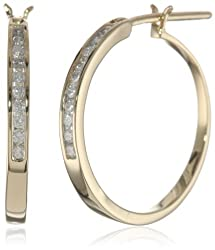 10k Gold Diamond Channel Hoop Earrings (1/4 cttw, H-I Color, I2-I3 Clarity)