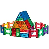 Playmags Clear Colors Magnetic Tiles Building Set 50 Piece Accessory Set Includes 4 Magnetic Cars