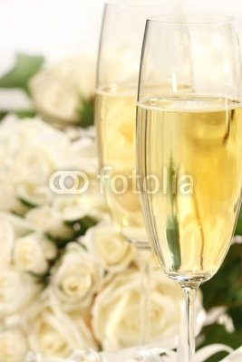 Wallmonkeys Peel and Stick Wall Decals - Close-up of Champagne Glasses with a Bouquet of Roses - 24