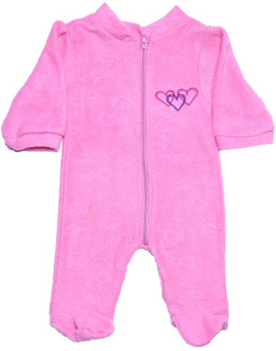 Coney Island Baby Girls Pink Fleece Cozy Footie Romper3 front-426433