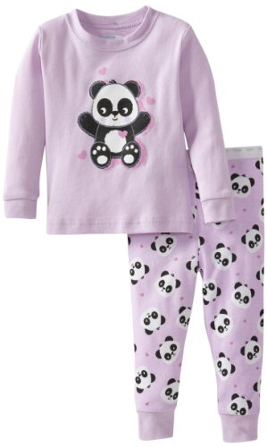Vitamins Baby Baby-Girls Infant Panda Print Two Piece Pajama Set, Lilac, 12 Months front-795662