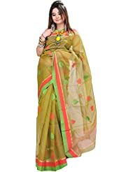 Exotic India Macaw-Green Chanderi Sari With All-over Woven Leaves - Green