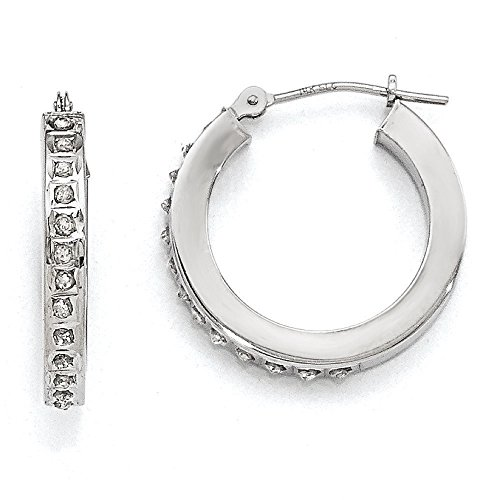 Diamond Hoop Earrings In 14Kt White Gold - Round - Post With Hinge - Stylish