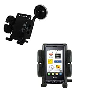 LG Viewty Smile compatible Windshield Mount for the Car / Auto - Flexible Suction Cup Cradle Holder for the Vehicle
