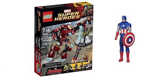 LEGO Super Heroes The Hulk Buster Smash 248 Pcs & free Gifts Super Hero Adventures Series Captain America (Colors may vary) Toys